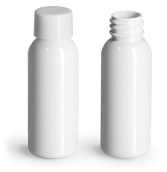 PET Plastic Bottles, White Cosmo Round Bottles w/ Smooth White PE Lined Caps