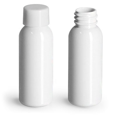 Plastic Bottles, White PET Cosmo Round Bottles w/ Smooth White PE Lined Caps