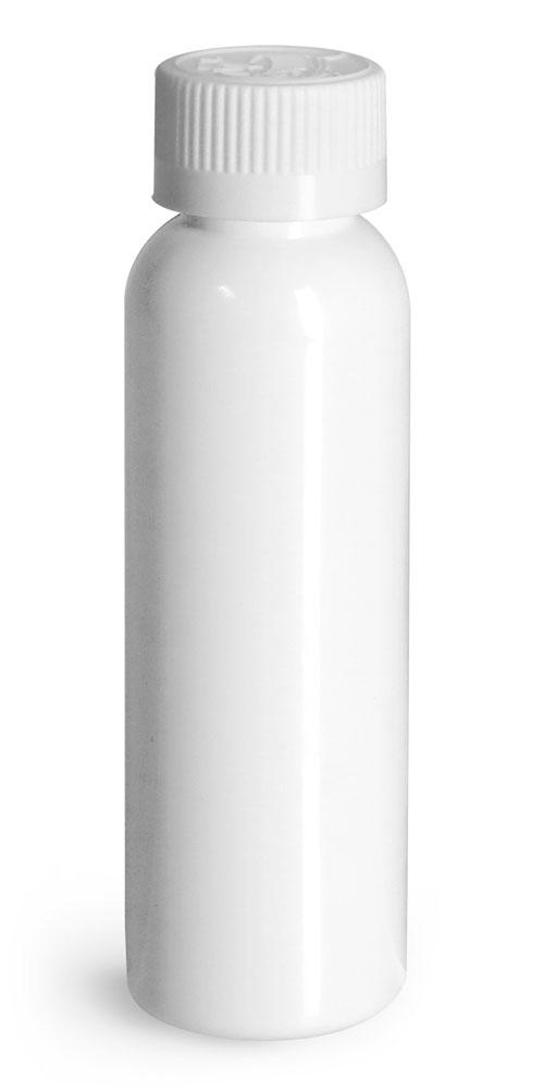 2 oz Plastic Bottles, White PET Cosmo Round Bottles w/ White Child Resistant Caps