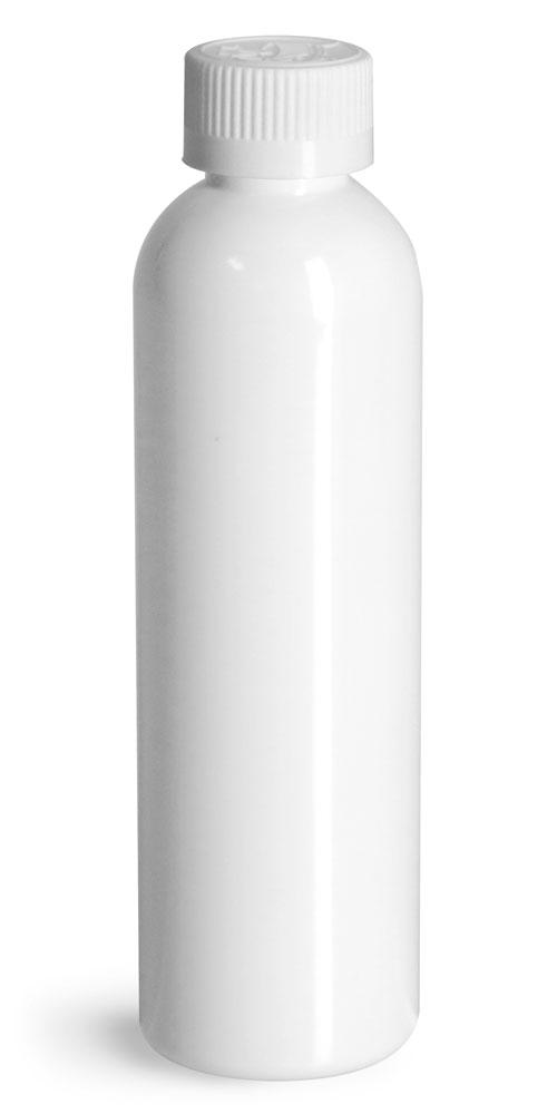 4 oz  Plastic Bottles, White PET Cosmo Round Bottles w/ White Child Resistant Caps