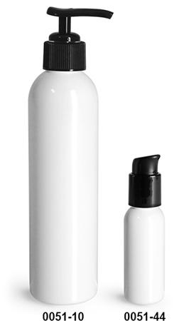 Plastic Bottles, White PET Cosmo Round Bottles w/ Black Lotion Or Treatment Pumps
