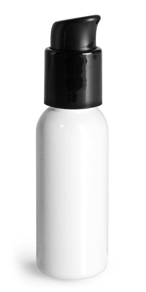 1 oz White PET Cosmo Round Bottles w/ Black Treatment Pumps
