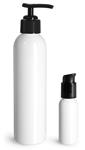 PET Plastic Bottles, White Cosmo Round Bottles w/ Black Pumps