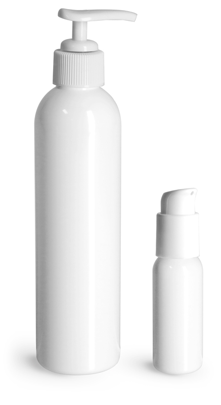 PET Plastic Bottles, White Cosmo Round Bottles w/ White Lotion Pumps