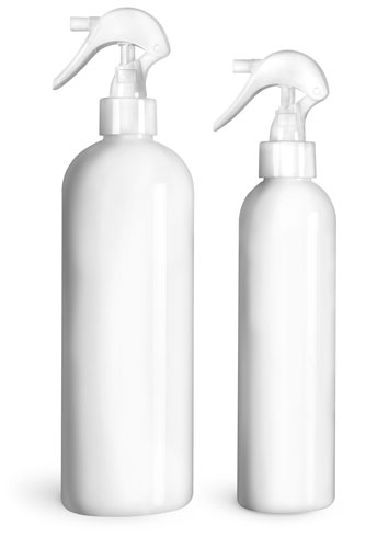 PET Plastic Bottles, White Cosmo Round Bottles w/ White Mini Trigger Sprayers