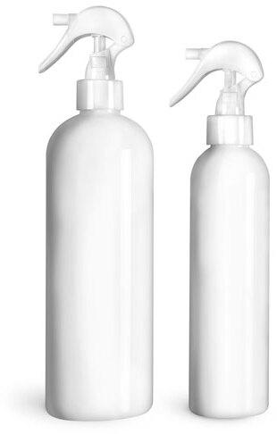 White PET Cosmo Round Bottles w/ White Polypropylene Mini Trigger Sprayers