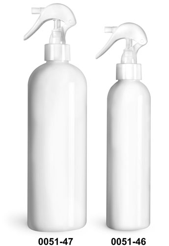 Plastic Bottles, White PET Cosmo Round Bottles w/ White Mini Trigger Sprayers