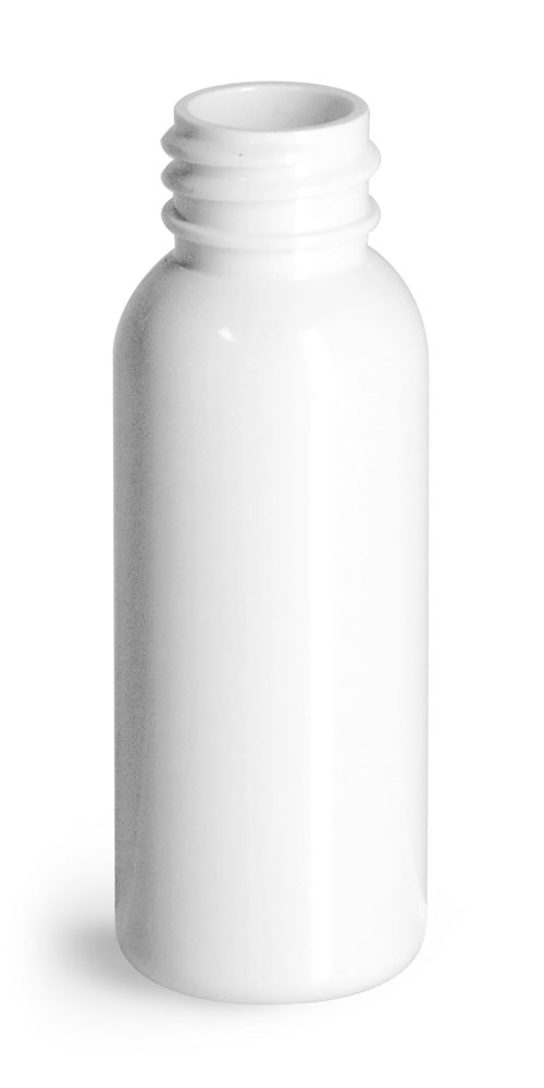 1 oz Plastic Bottles, White PET Cosmo Round Bottles (Bulk), Caps NOT Included