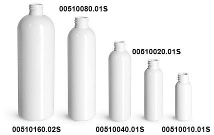 Plastic Bottles, White PET Cosmo Round Bottles (Bulk), Caps NOT Included