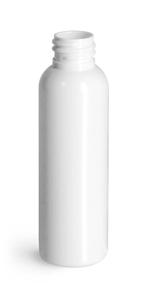 White PET Cosmo Round Bottles (Bulk), Caps NOT Included