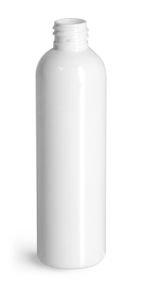 4 oz White PET Cosmo Round Bottles (Bulk), Caps NOT Included