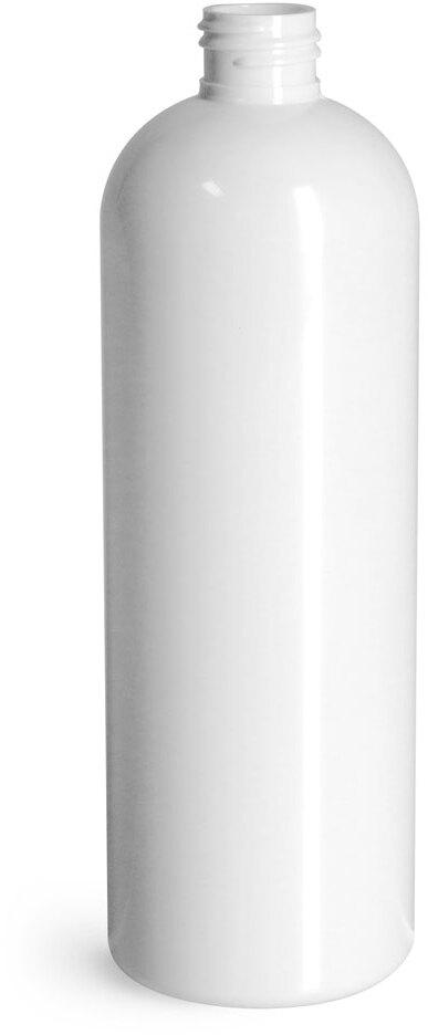 Plastic Bottles, White PET Cosmo Round Bottles (Bulk), Caps NOT Included