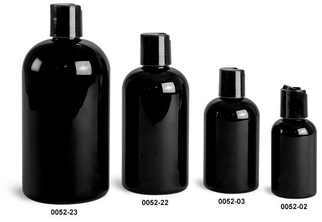 Plastic Bottles, Black PET Boston Round Bottles w/ Black Disc Top Caps