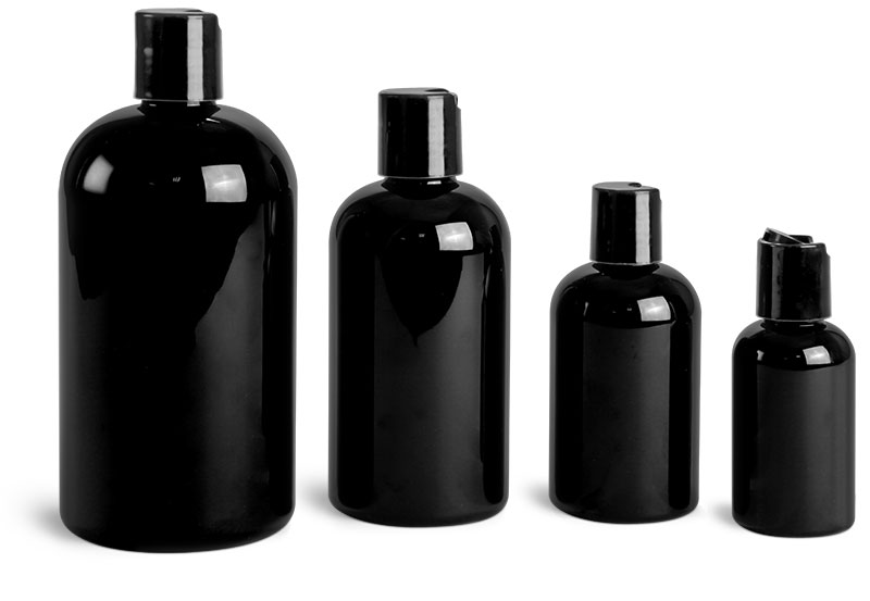 PET Plastic Bottles, Black Boston Round Bottles w/ Black Disc Top Caps