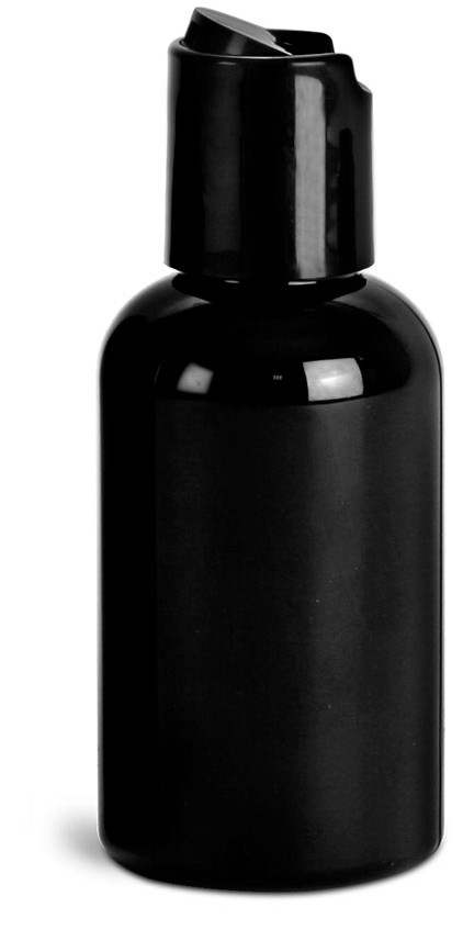 2 oz Black PET Round Bottles w/ Black Disc Top Caps