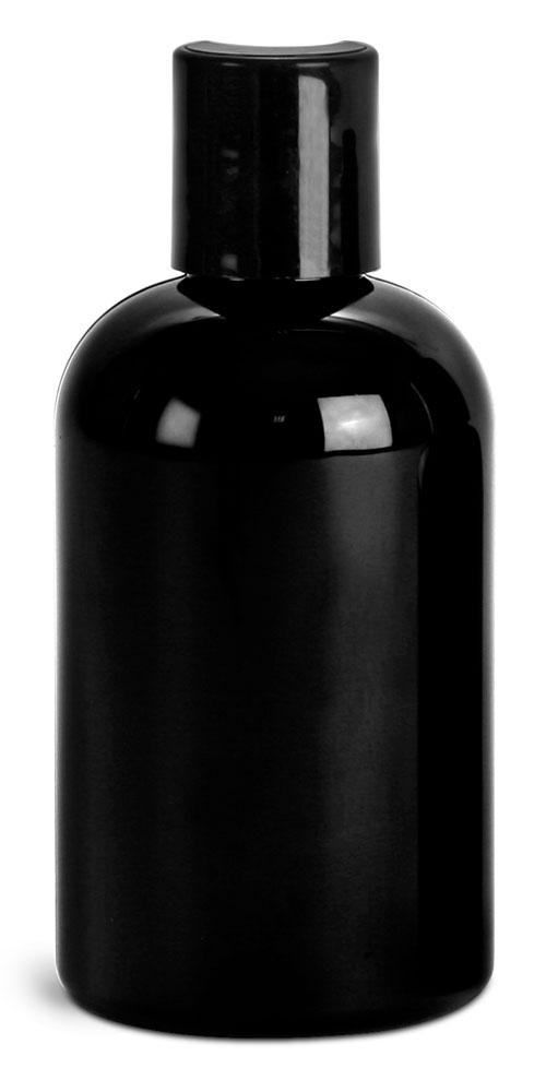 4 oz Black PET Round Bottles w/ Black Disc Top Caps