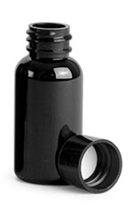 1 oz Black PET Round Bottles w/ Black Smooth PE Lined Caps