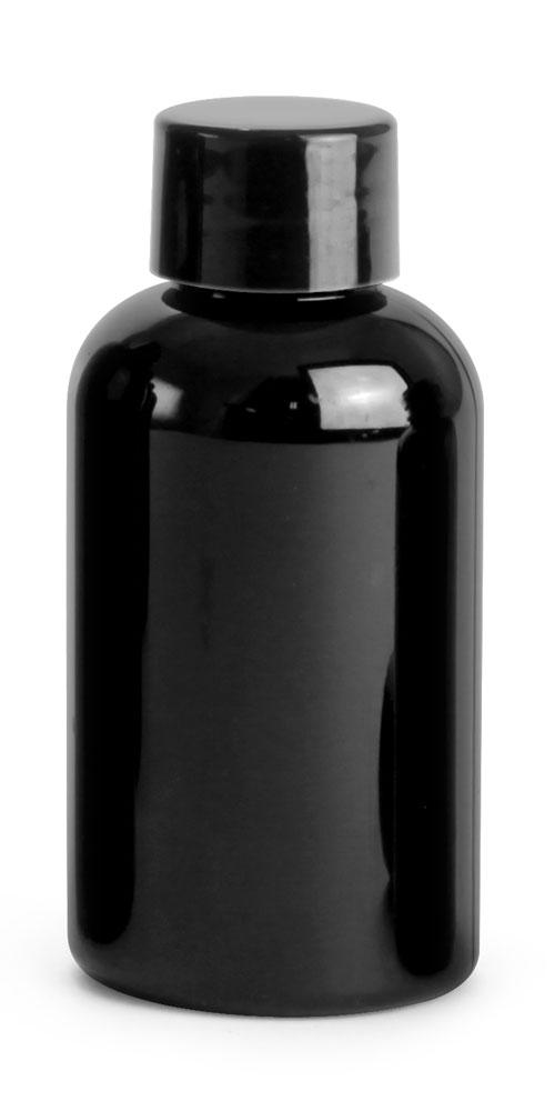 2 oz Black PET Round Bottles w/ Black Smooth PE Lined Caps
