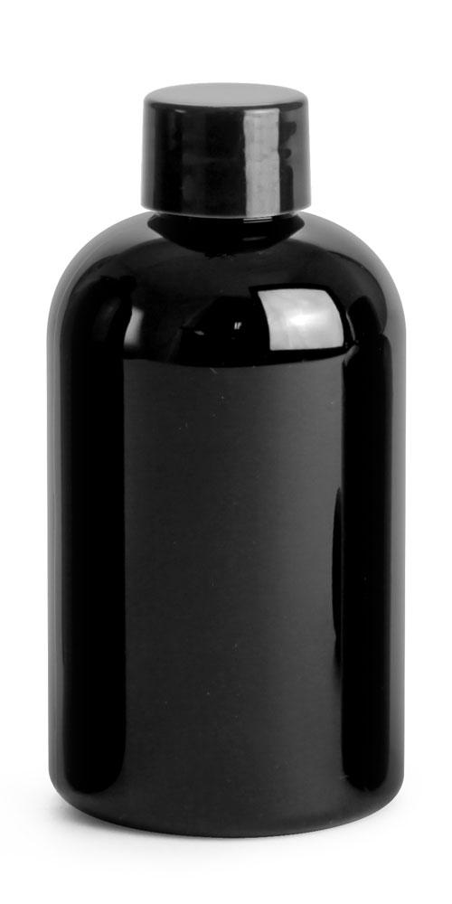 4 oz Black PET Round Bottles w/ Black Smooth PE Lined Caps