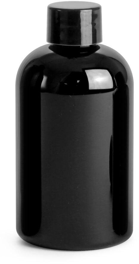 Black PET Round Bottles w/ Black Smooth PE Lined Caps