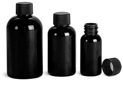 PET Plastic Bottles, Black Boston Round Bottles w/ Black Ribbed F217 Lined Caps