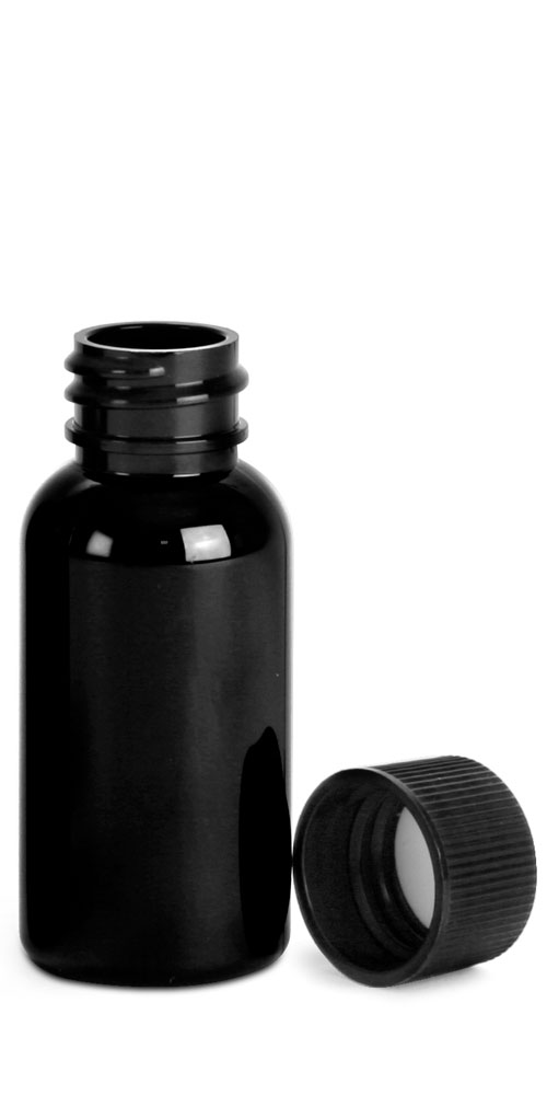 Black PET Round Bottles w/ Black Ribbed F217 Lined Caps