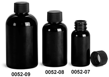 Plastic Bottles, Black PET Boston Round Bottles w/ Black Ribbed F217 Lined Caps