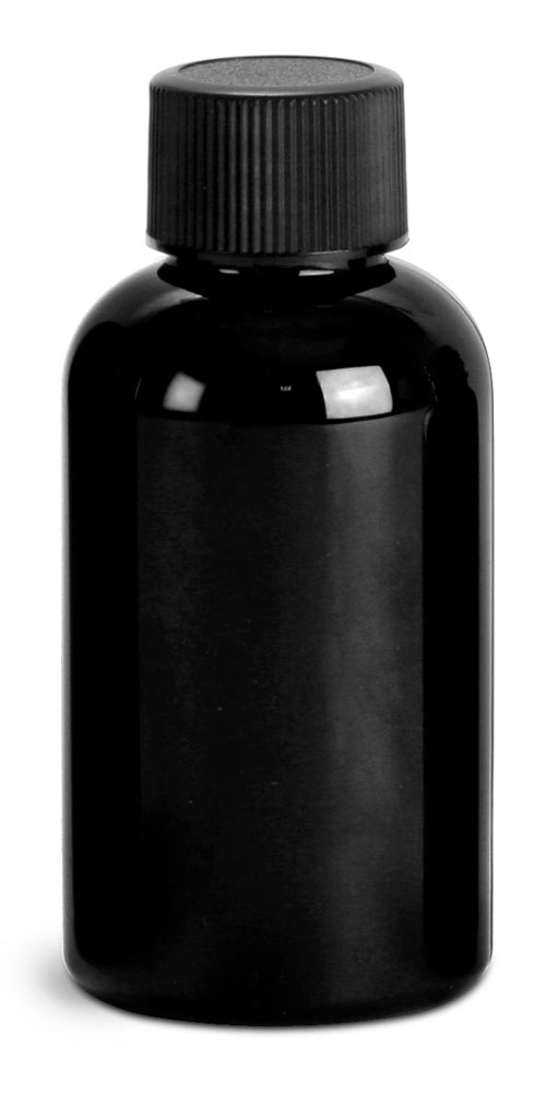 2 oz Black PET Round Bottles w/ Black Ribbed F217 Lined Caps