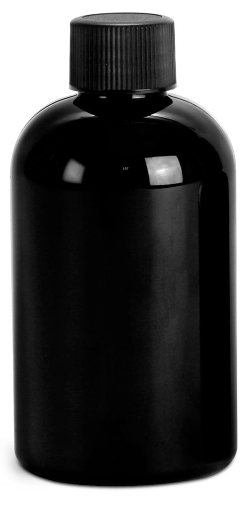 4 oz Black PET Round Bottles w/ Black Ribbed F217 Lined Caps
