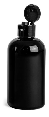 PET Plastic Bottles, Black Boston Round Bottles w/ Black Smooth Snap Top Caps