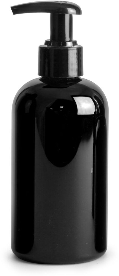 Black PET Boston Rounds w/ Black 2 Cc Lotion Pumps