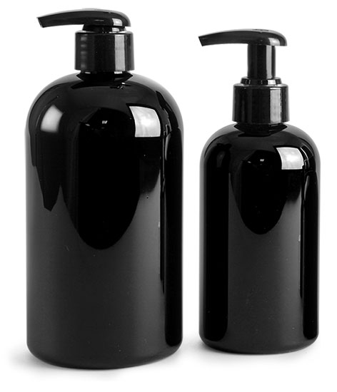 PET Plastic Bottles, Black Boston Round Bottles w/ Black 2 Cc Lotion Pumps