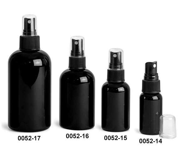 Plastic Bottles, Black PET Round Bottles w/ Black Fine Mist Sprayers