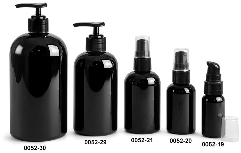 Plastic Bottles, Black Boston Round Bottles w/ Black Lotion Pumps