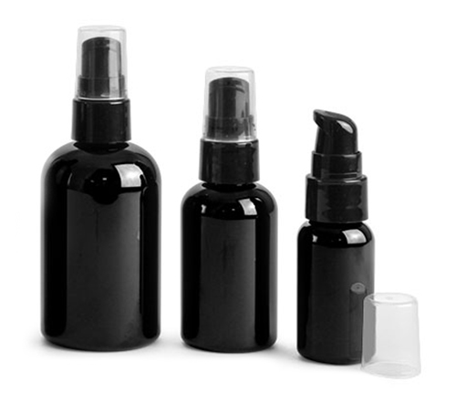 Black Boston Round Bottles w/ Black Treatment Pumps
