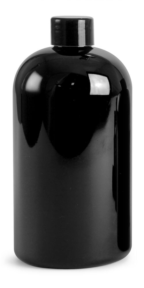 8 oz Black PET Round Bottles w/ Black Smooth PE Lined Caps