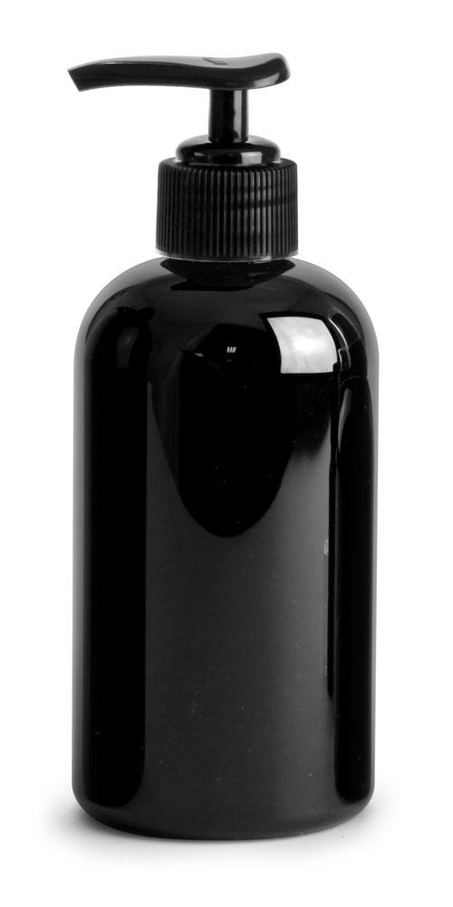 8 oz Black PET Boston Round Bottles w/ Black Pumps
