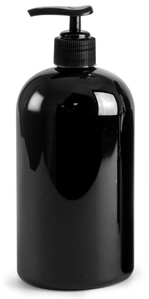 16 oz PET Plastic Bottles, Black Boston Round Bottles w/ Black Pumps