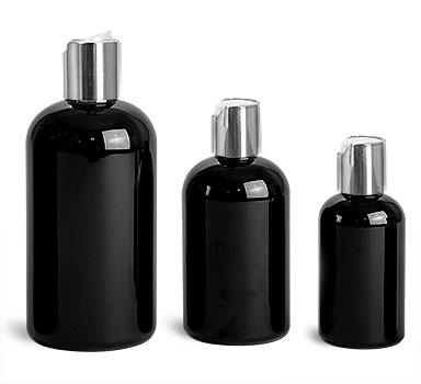 Plastic Bottles, Black PET Boston Round Bottles w/ Silver Disc Top Caps