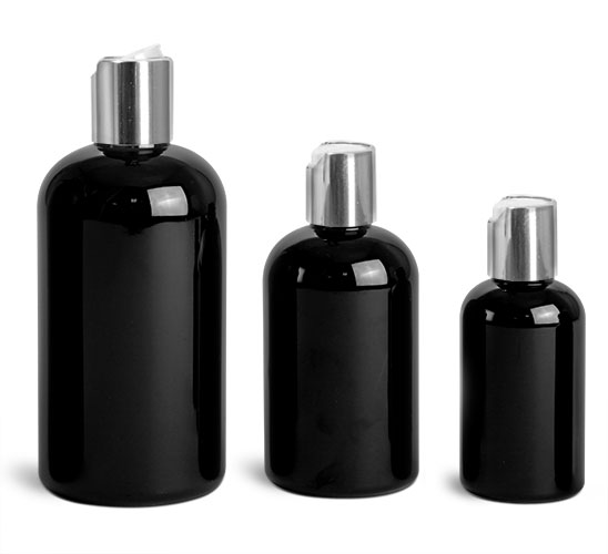 PET Plastic Bottles, Black Boston Round Bottles w/ Silver Disc Top Caps