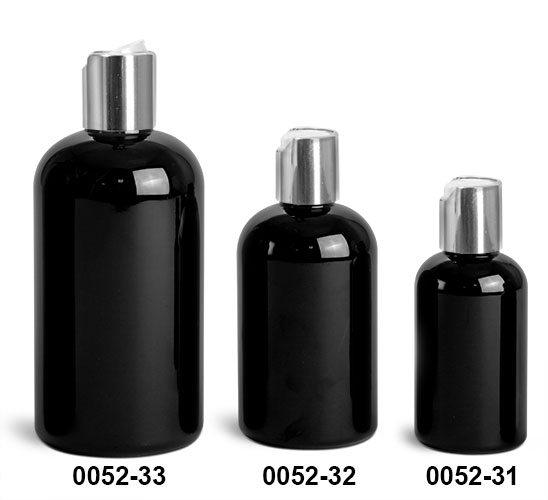 Plastic Bottles, Black PET Boston Round Bottles w/ Silver Disc Top Caps