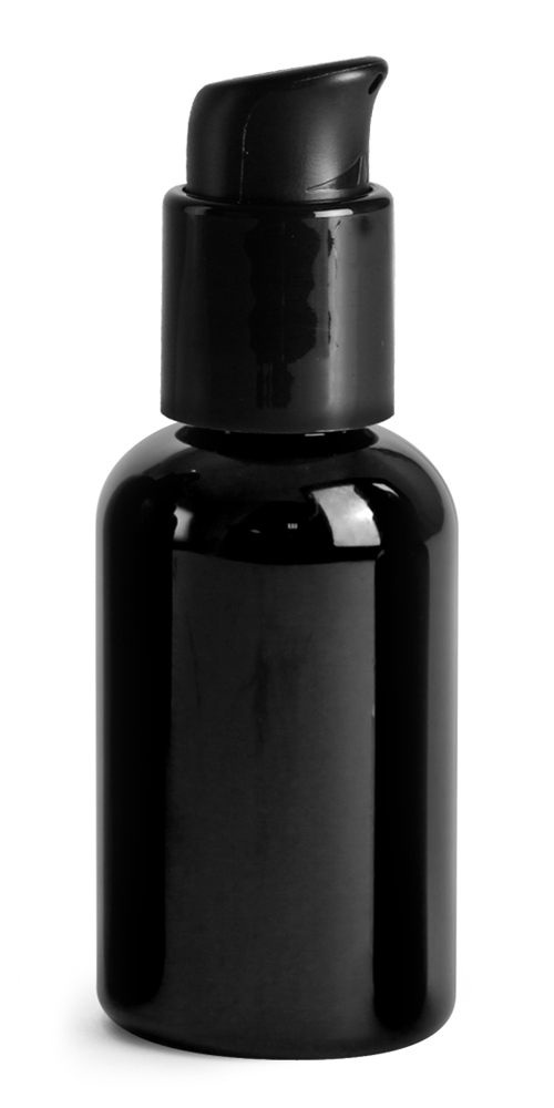 2 oz PET Plastic Bottles, Black Boston Round Bottles w/ Black Pumps