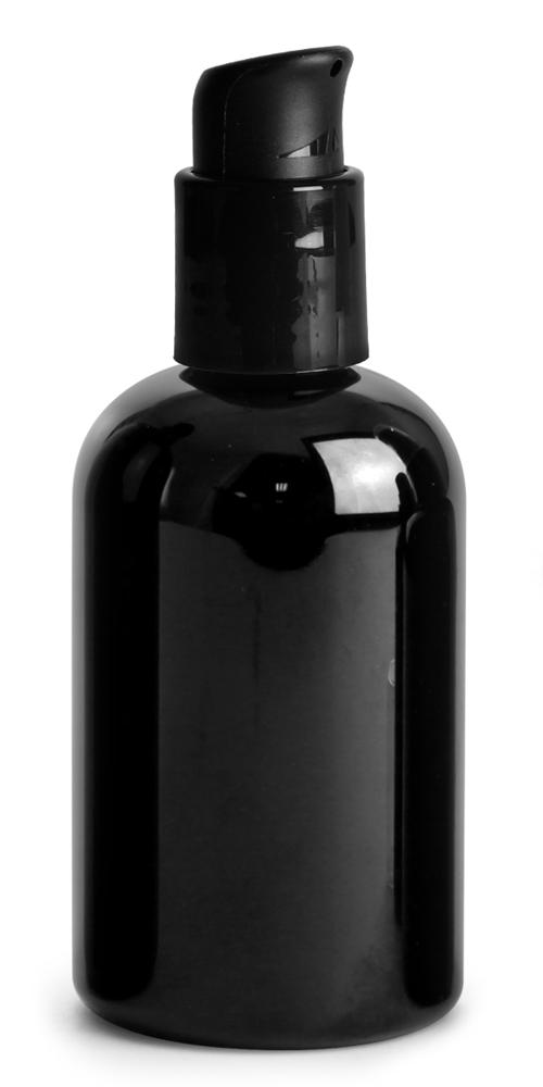 4 oz PET Plastic Bottles, Black Boston Round Bottles w/ Black Pumps
