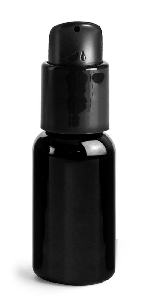 1 oz  PET Plastic Bottles, Black Boston Round Bottles w/ Black Pumps