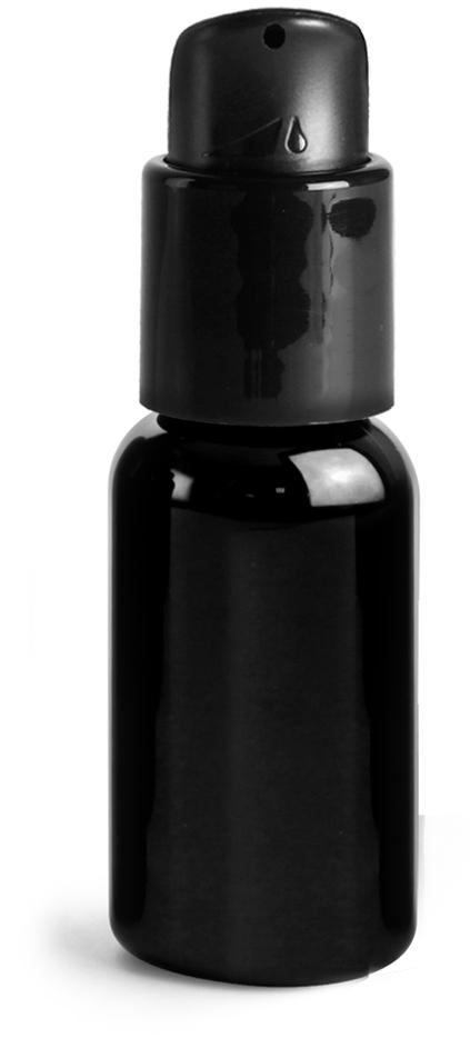 PET Plastic Bottles, Black Boston Round Bottles w/ Black Pumps