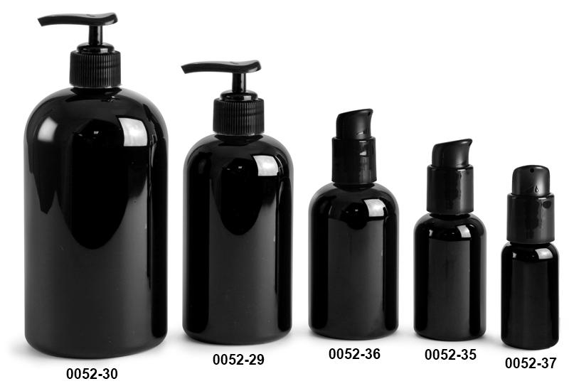 Plastic Bottles, Black Boston Round Bottles w/ Black Pumps