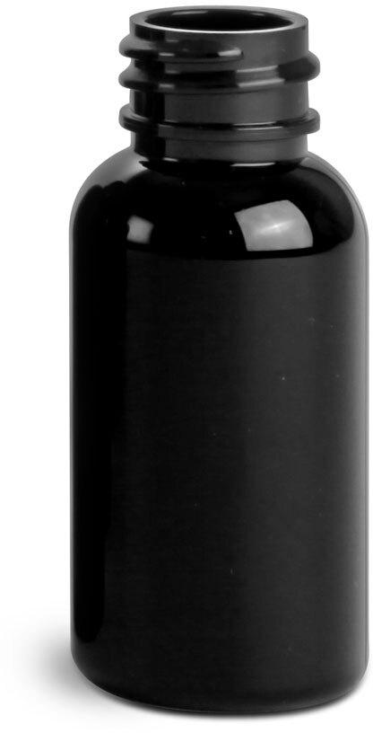 Black PET Round Bottles (Bulk), Caps NOT included