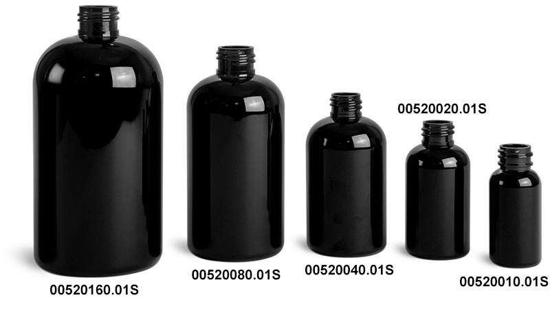 Plastic Bottles, Black PET Round Bottles (Bulk), Caps NOT Included
