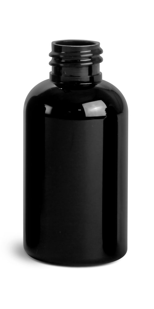 2 oz Black PET Round Bottles (Bulk), Caps NOT included