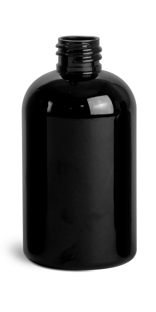 Black PET Round Bottles (Bulk), Caps NOT included